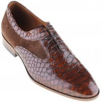 Brown Laced Snake Skin Effect Shoe with Suede Inlays