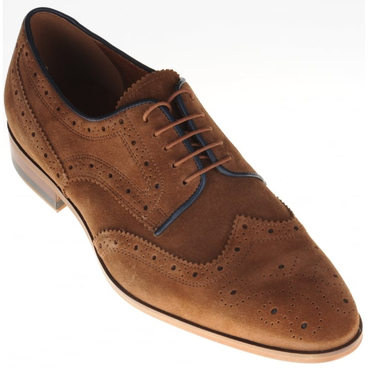 LACUZZO Brown Suede Brogues with Leather Trim