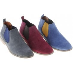Embossed Suede Boot with Coloured Inserts in Grey, Wine or Blue