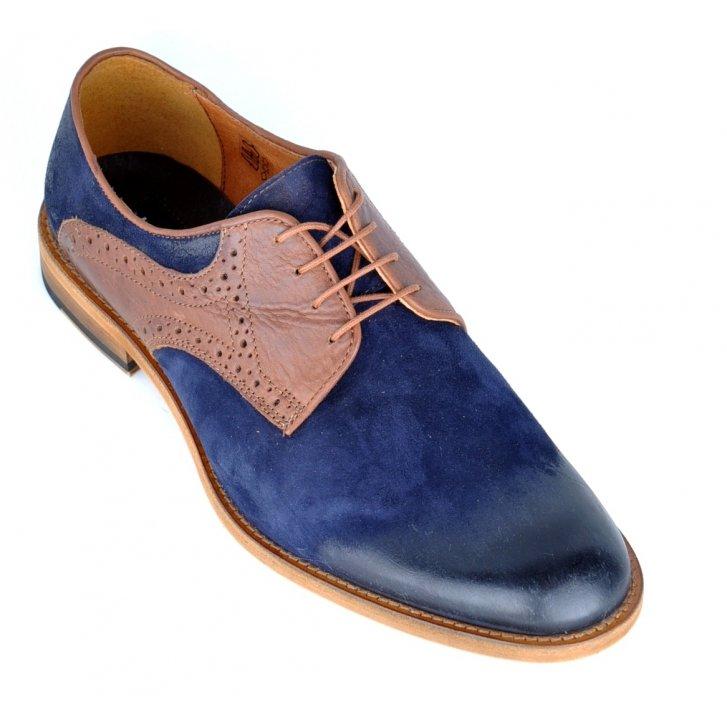 Leather Shoe Laces Blue