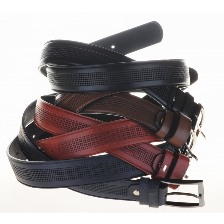 LACUZZO Mens Pattern Chrome Buckle Leather Belt