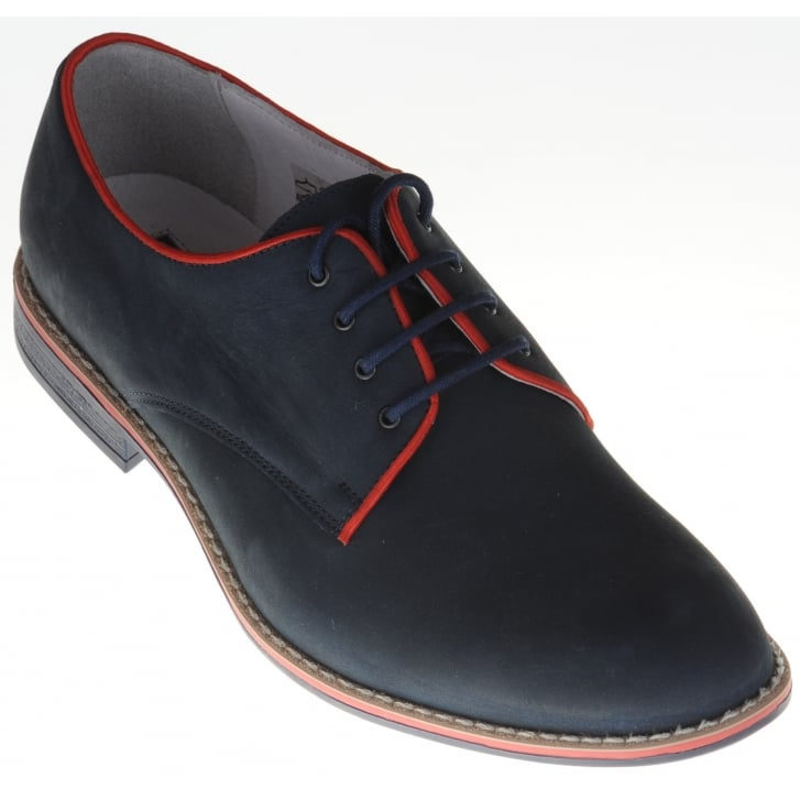 LACUZZO Nubuck Leather Trimmed Laced Shoe with Leather Uppers and Man Made Sole