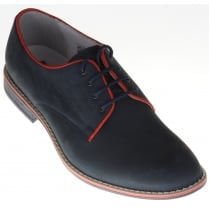 Nubuck Leather Trimmed Laced Shoe with Leather Uppers and Man Made Sole