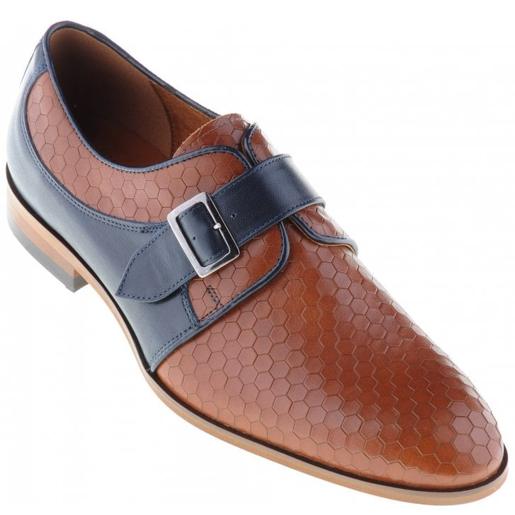 LACUZZO Tan and Navy or Wine and Black Pattened Shoe with Buckle