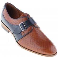 Tan and Navy Pattened Shoe with Buckle