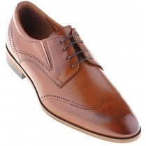 Tan Laced Brogue Shoe with Stretch Inlays