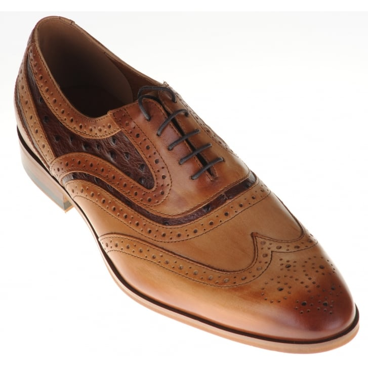 LACUZZO Tan Laced Brogue with Contrasting Ostrich Inlays