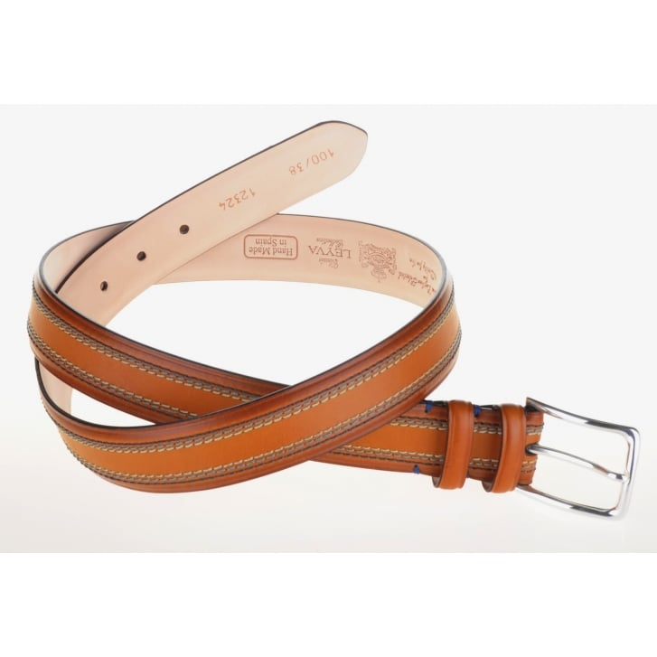 LEYVA Luxury Leather Belt with Stitching Detail