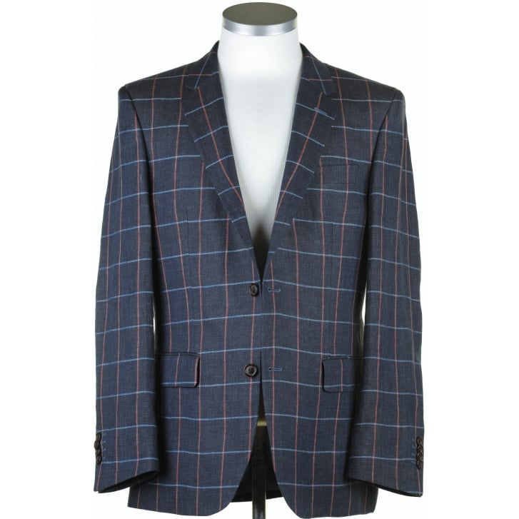 SANTINELLI Linen Navy Blue Summer Jacket with Blue and Pink Overcheck
