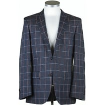 Linen Navy Blue Summer Jacket with Blue and Pink Overcheck