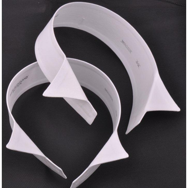 LUKE EYRES Two White Cotton Stiff Wing Collars