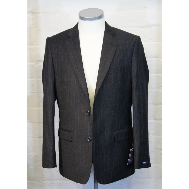 MAGEE Classic Cut Pure New Wool Grey Pin Stripe Single Breasted Suit