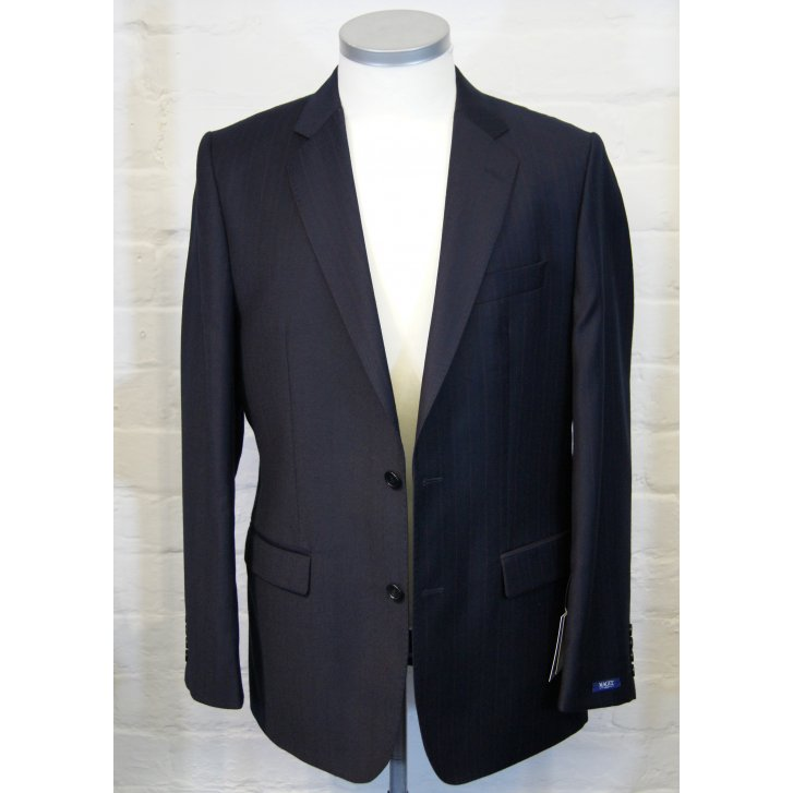 MAGEE Classic Cut Pure New Wool Navy Pin Stripe Single Breasted Suit
