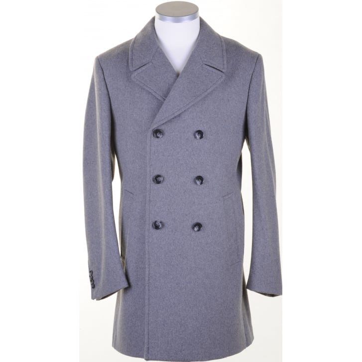 MAXIME B Grey Double Breasted Overcoat
