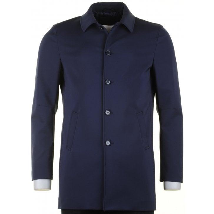 MAXIME B Stylish Tailored Navy Short Raincoat