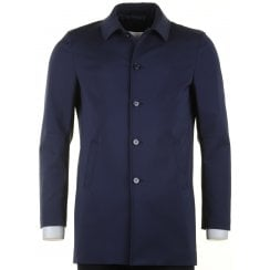 Stylish Tailored Navy Short Raincoat