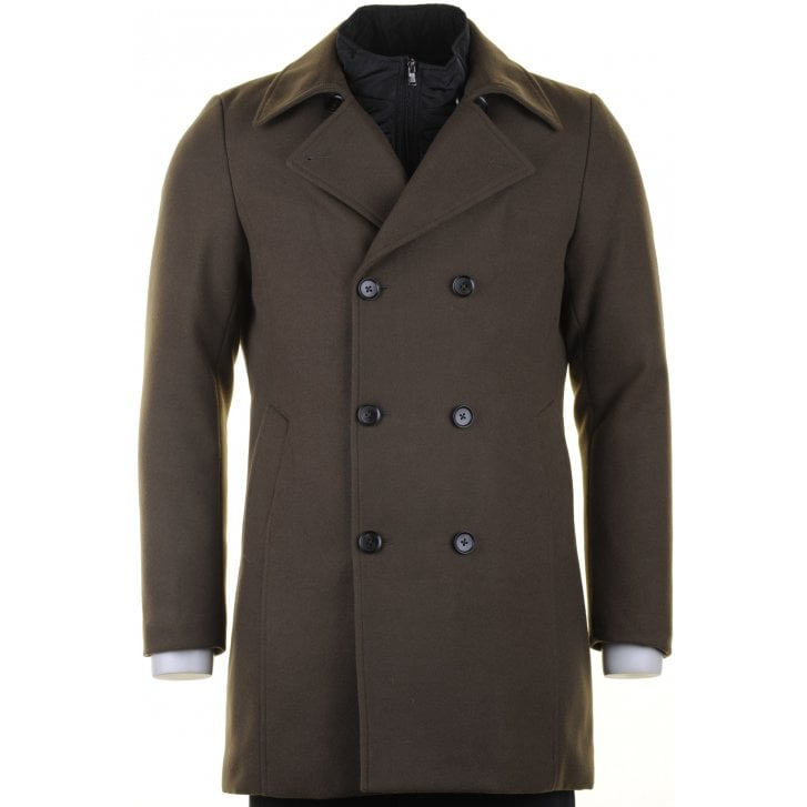 MAXIME B Tailored Fit Double Breasted Overcoat in Navy or Green