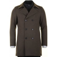 Tailored Fit Double Breasted Overcoat in Navy or Green