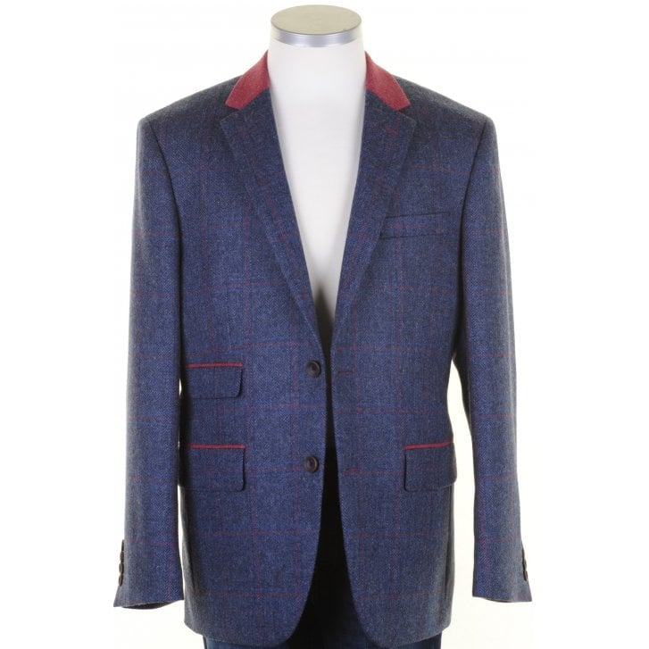 MAZZELLI Pure Wool Blue Tweed Jacket with Pink Overcheck