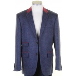 Pure Wool Blue Tweed Jacket with Pink Overcheck