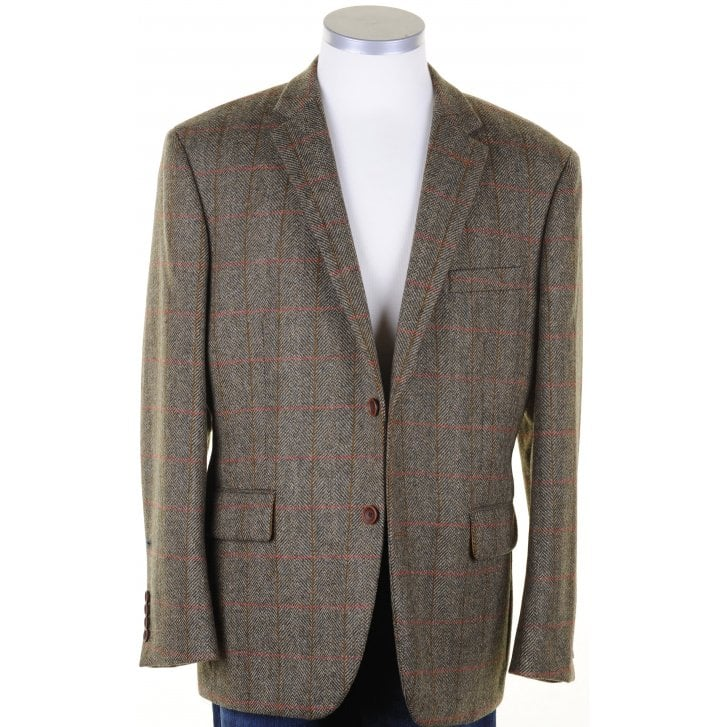 MAZZELLI Pure Wool Brown British Tweed Jacket with Overcheck