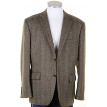 Pure Wool Brown British Tweed Jacket with Overcheck