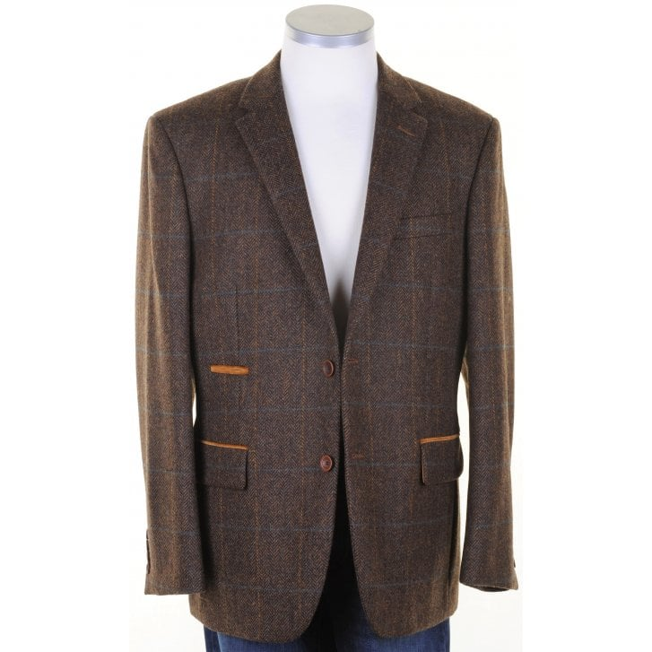 MAZZELLI Pure Wool Brown Tweed Jacket with Overcheck