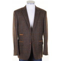 Pure Wool Brown Tweed Jacket with Overcheck