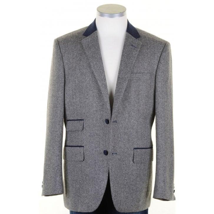 MAZZELLI Pure Wool Grey Herringbone Tweed Jacket