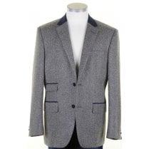 Pure Wool Grey Herringbone Tweed Jacket