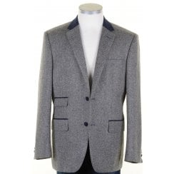 Pure Wool Grey Herringbone Tweed Jacket