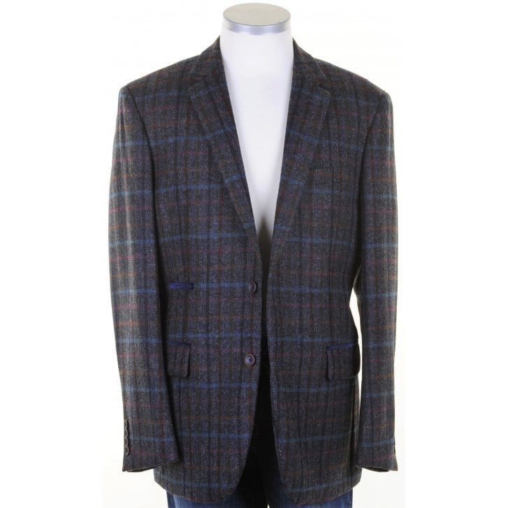 MAZZELLI Pure Wool Navy Check British Tweed Jacket