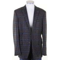Pure Wool Navy Check British Tweed Jacket