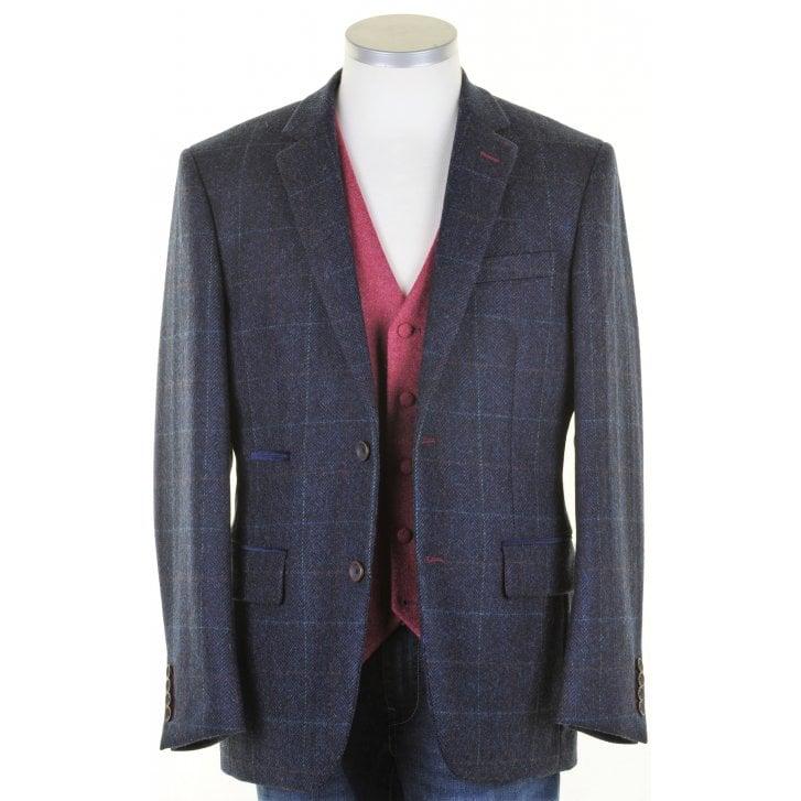 MAZZELLI Pure Wool Navy Tweed Jacket with Overcheck