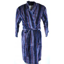 Mens Bown Navy Striped Velour Cotton Dressing Gown
