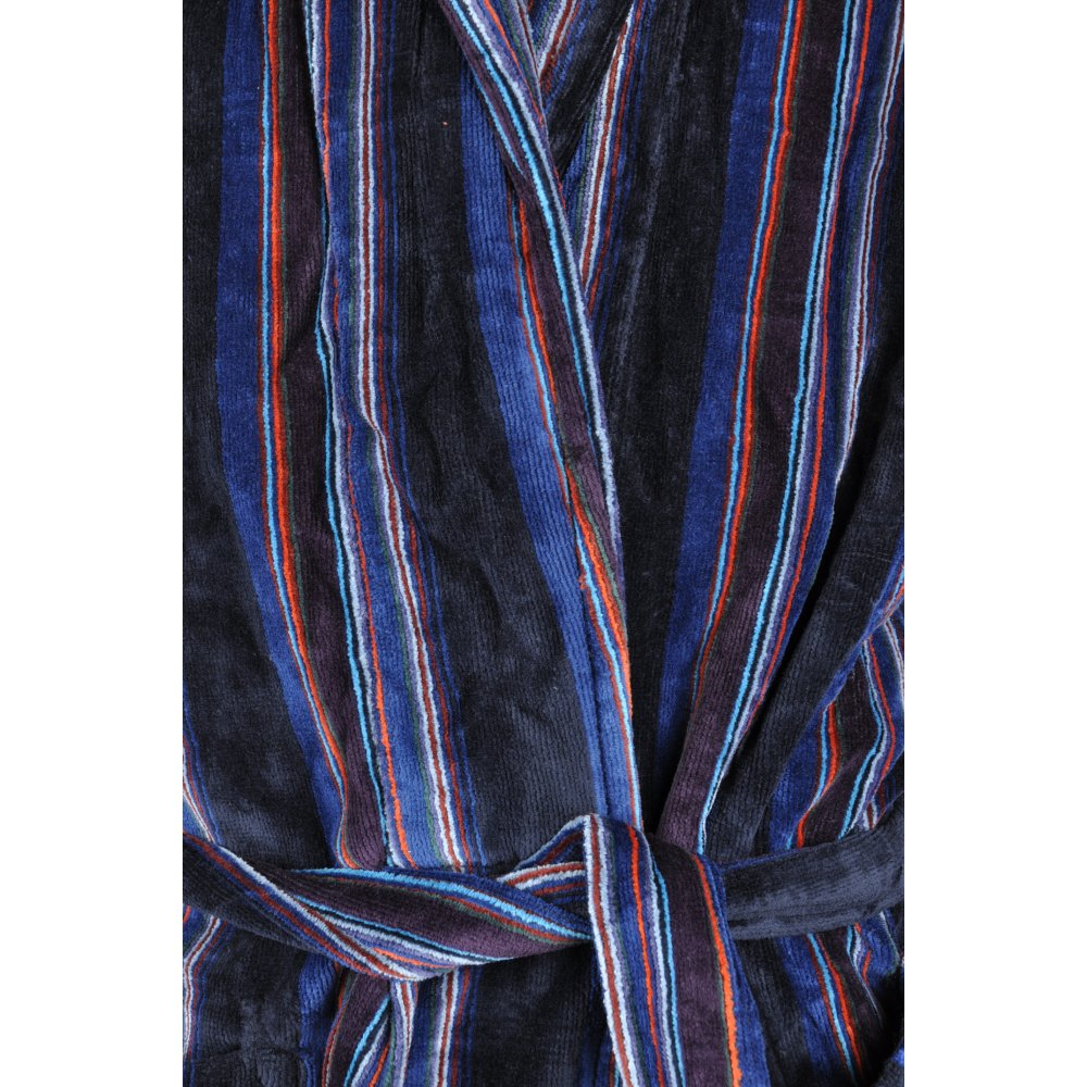 Men S Dressing Gowns Uk: Bown Luxury Towelling Navy Striped Dressing Gown From