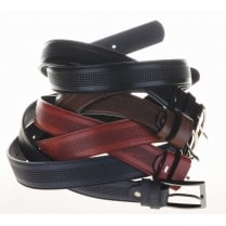 Mens Pattern Chrome Buckle Leather Belt