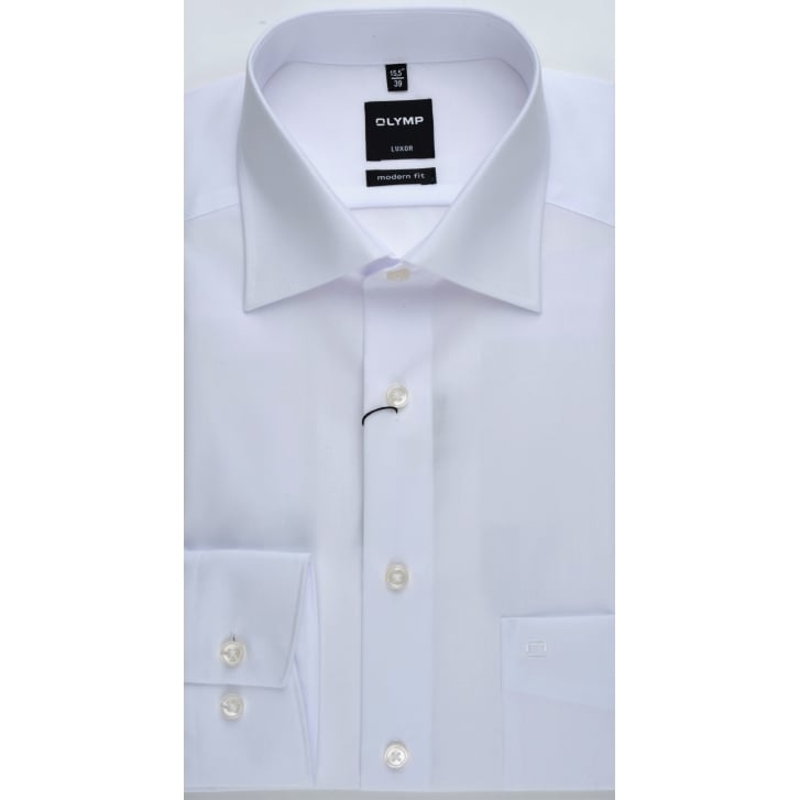 OLYMP Mens Pure Cotton Classic White Single Cuff Shirt
