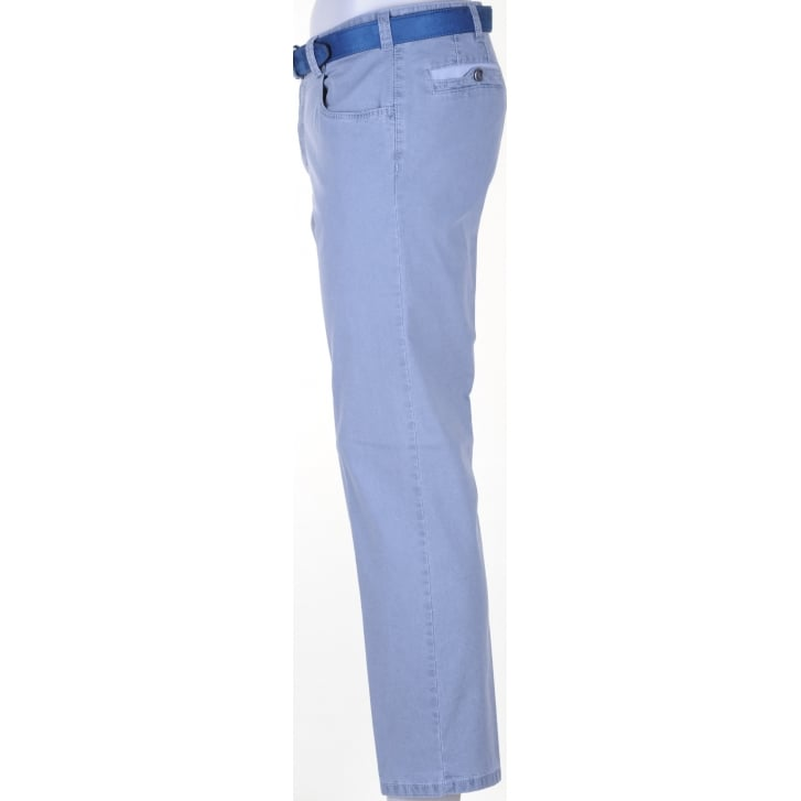 MEYER Cotton Self Pattern Chino in Diego Style in Grey and Sky