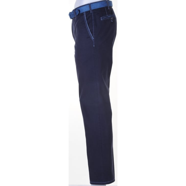 MEYER Cotton Stretch Chino New York Style in Navy or Blue