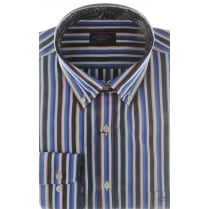 Multi Stripe Cotton Shirt with Trim