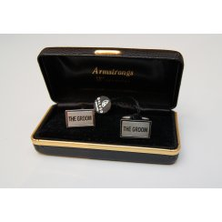 Named Rectangular Silver Metal Wedding Cufflinks