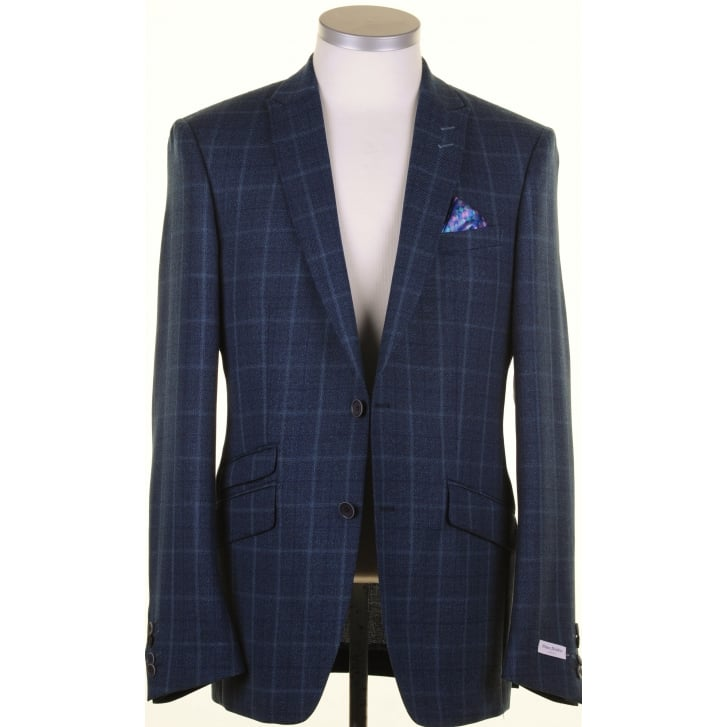 WITHOUT PREJUDICE Navy and Teal Tailored Light Weight Check Jacket in a Reda Cloth