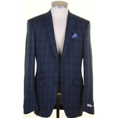 Navy and Teal Tailored Light Weight Check Jacket in a Reda Cloth