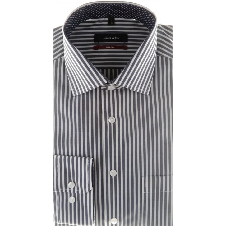 SEIDENSTICKER Navy and White Bengal Stripe Cotton Shirt