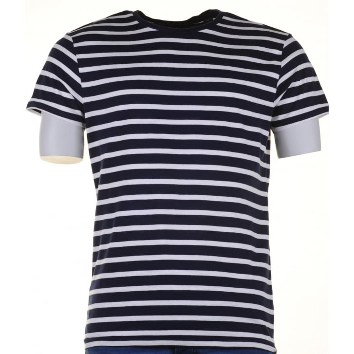 SCOTCH & SODA Navy and WhiteRound Neck Striped Cotton T Shirt