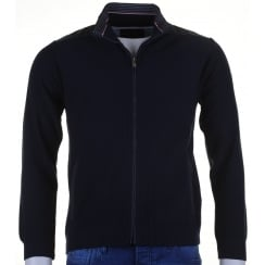 Navy Full Zip Cardigan with Side Pockets