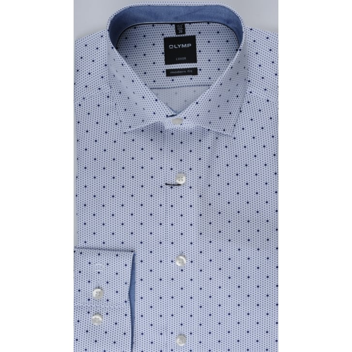 OLYMP Navy Spotted Cotton Shirt