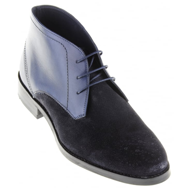 PAOLO VANDINI Navy Suede and Leather Laced Boot