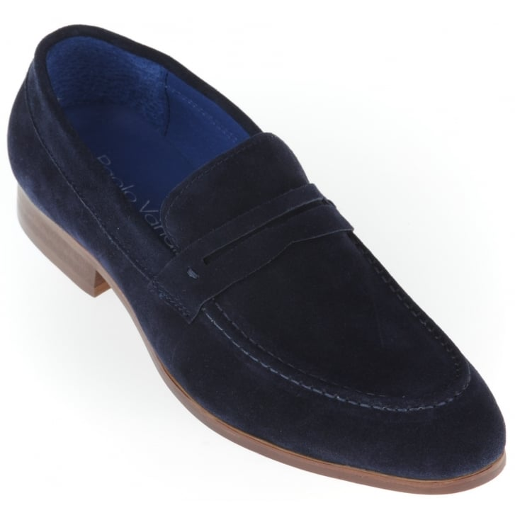 PAOLO VANDINI Navy Suede Slip on Shoe